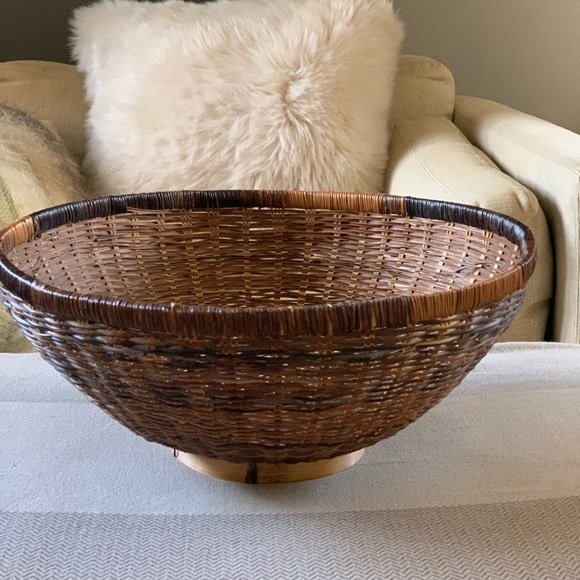 "Boho Two-Tone Wicker Bowl Shaped  Basket  15"" x 7"""